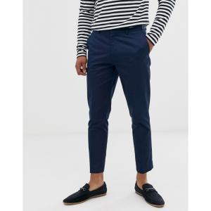 エイソス ASOS DESIGN メンズ クロップド ボトムス・パンツ super skinny crop smart trousers in navy cotton sateen ネイビー|fermart