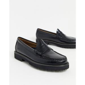 ジーエイチ バス G.H. Bass メンズ ローファー チャンキーヒール シューズ・靴 GH bass easy weejun 90 chunky loafers in black ブラック fermart