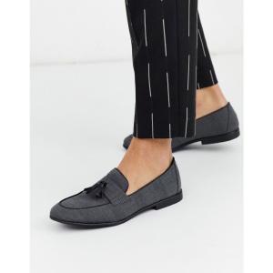 トップマン Topman メンズ ローファー シューズ・靴 loafer in grey check グレー fermart
