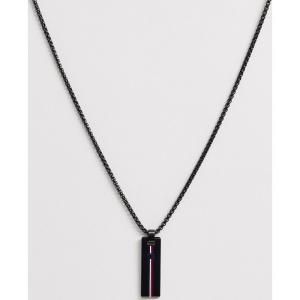 トミー ヒルフィガー Tommy Hilfiger メンズ ネックレス ジュエリー・アクセサリー neck chain with branded pendant in black ブラック|fermart