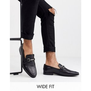 デューン Dune メンズ ローファー シューズ・靴 wide fit leather metal bar loafer in black ブラック fermart