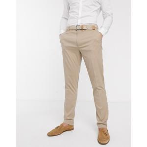エイソス ASOS DESIGN メンズ スラックス ボトムス・パンツ wedding skinny suit trousers in stone ベージュ|fermart