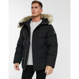 カルバンクライン Calvin Klein メンズ ダウン・中綿ジャケット ミリタリージャケット アウター synthetic down bomber jacket with faux fur trim in black|fermart