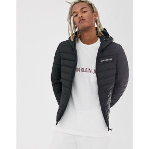 カルバンクライン Calvin Klein Jeans メンズ ダウン・中綿ジャケット アウター padded hooded jacket in black with small logo ブラック|fermart