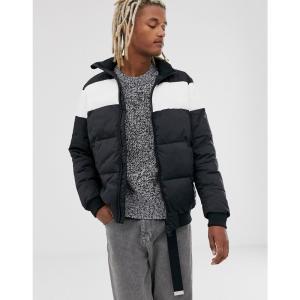 カルバンクライン Calvin Klein Jeans メンズ ダウン・中綿ジャケット アウター puffer jacket in black with chest stripe ブラック|fermart