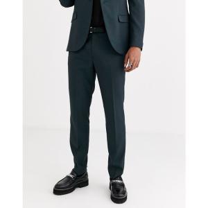 トップマン Topman メンズ スラックス ボトムス・パンツ skinny suit trousers in blue ティール|fermart