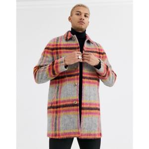 エイソス ASOS DESIGN メンズ トレンチコート アウター wool mix trench coat in bright check グレー|fermart