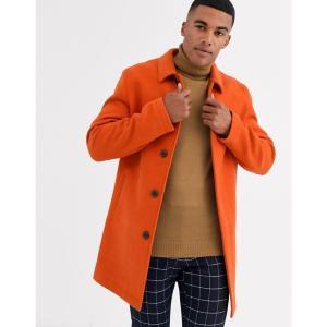 エイソス ASOS DESIGN メンズ トレンチコート アウター wool mix trench coat in orange オレンジ|fermart