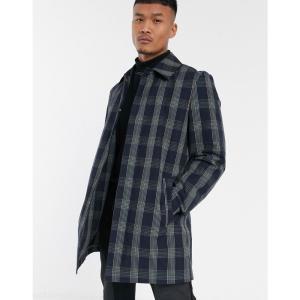 エイソス ASOS DESIGN メンズ トレンチコート アウター trench coat in blue check ネイビー|fermart
