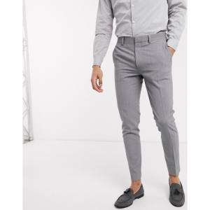 エイソス ASOS DESIGN メンズ スラックス ボトムス・パンツ super skinny suit trousers in four way stretch in mid grey グレー|fermart