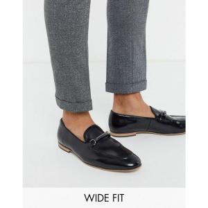 エイソス ASOS DESIGN メンズ ローファー シューズ・靴 Wide Fit loafers in black faux leather with snaffle ブラック fermart