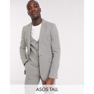 エイソス ASOS DESIGN メンズ スーツ・ジャケット アウター Tall wedding super skinny suit jacket in grey wool blend micro houndstooth グレー fermart
