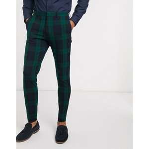 エイソス ASOS DESIGN メンズ スラックス ボトムス・パンツ Asos Design Super Skinny Suit Trousers In Blackwatch Tartan グリーン|fermart