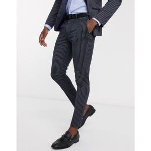 エイソス ASOS DESIGN メンズ スラックス ボトムス・パンツ wedding super skinny suit trousers in navy pinstripe ネイビー|fermart