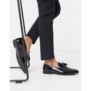 エイソス ASOS DESIGN メンズ ローファー シューズ・靴 tassel loafers in black patent ブラック fermart