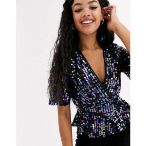 ミス セルフリッジ Miss Selfridge レディース ブラウス・シャツ トップス wrap top with flare sleeves in black sequin ブラック|fermart