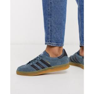 アディダス adidas Originals メンズ スニーカー シューズ・靴 gazelle indoor trainers in blue with gum sole ブルー|fermart
