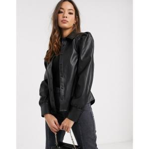 ヴェロモーダ Vero Moda レディース ブラウス・シャツ トップス leather look shirt with puff sleeve in black ブラック|fermart