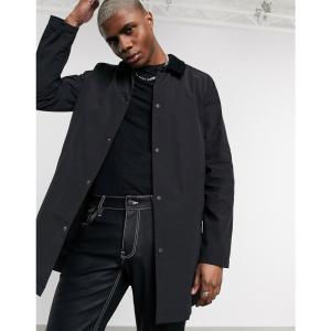 エイソス ASOS DESIGN メンズ トレンチコート アウター trench coat with wax finish and cord collar in black ブラック|fermart