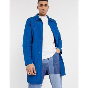 エイソス ASOS DESIGN メンズ トレンチコート アウター lightweight trench coat in cobalt blue ブルー|fermart