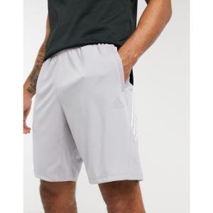 アディダス adidas performance メンズ ショートパンツ ボトムス・パンツ Adidas Training 3 Stripe Shorts グレー|fermart