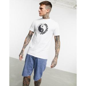 サンタクルーズ Santa Cruz メンズ Tシャツ トップス Organic Scream Ying Yang t-shirt in white ホワイト|fermart