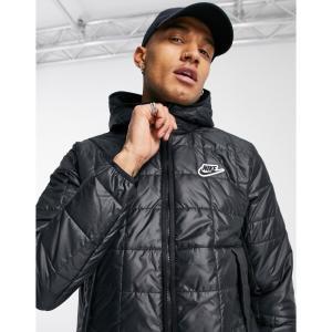 ナイキ Nike メンズ ダウン・中綿ジャケット フード アウター Zip-Through Hooded Synthetic Fill Puffer Jacket In Black ブラック|fermart