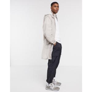 エイソス ASOS DESIGN メンズ トレンチコート アウター lightweight trench coat in light grey グレー|fermart