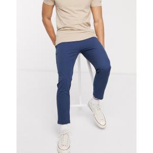 オンリーアンドサンズ Only & Sons メンズ クロップド ボトムス・パンツ cropped seersucker trousers in blue ドレスブルー|fermart