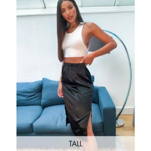 パリジャン Parisian Tall レディース ひざ丈スカート スカート satin midi skirt with splits in black ブラック|fermart