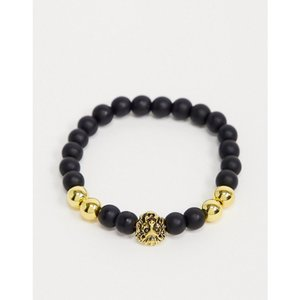 セブンエックス 7X メンズ ブレスレット ジュエリー・アクセサリー SVNX lion head bead bracelet ゴールド|fermart
