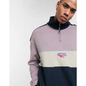 ハイテック Hi-Tec メンズ スウェット・トレーナー トップス panelled half zip sweatshirt in beige and mauve ソフト パープル|fermart