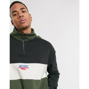 ハイテック Hi-Tec メンズ スウェット・トレーナー トップス panelled half zip sweatshirt in black and green ウォッシュブラック|fermart
