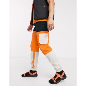 ハイテック Hi-Tec メンズ カーゴパンツ ボトムス・パンツ panelled cargo trousers in black and orange|fermart