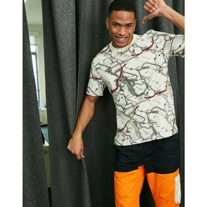 ハイテック Hi-Tec メンズ Tシャツ トップス all over map print t-shirt in off white|fermart