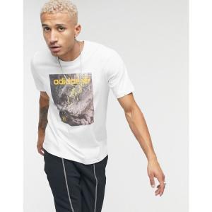 アディダス adidas Originals メンズ Tシャツ トップス t-shirt with adventure graphic print in white ホワイト|fermart