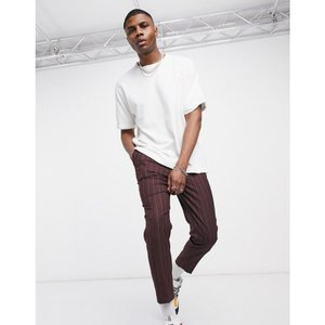 エイソス ASOS DESIGN メンズ クロップド ボトムス・パンツ tapered crop smart trousers in burgundy stripe バーガンディ|fermart