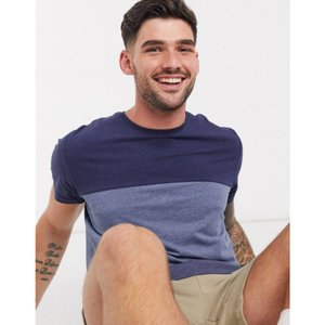 エスプリ Esprit メンズ Tシャツ トップス colour block t-shirt in blue ネイビー|fermart