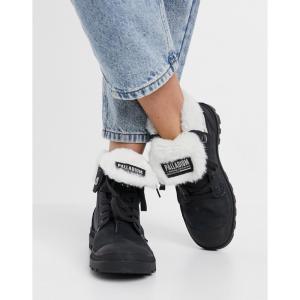 パラディウム Palladium レディース ブーツ ワイドパンツ シューズ・靴 Baggy fluff lined hiker boots in black ブラック/ブラック|fermart