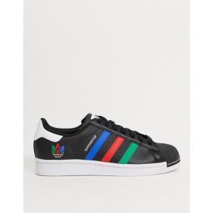 アディダス adidas Originals メンズ スニーカー シューズ・靴 Superstar Trainers With 3D Multicolour Trefoil In Black ブラック fermart