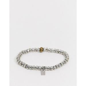 アイコン Icon Brand メンズ ブレスレット ジュエリー・アクセサリー beaded metal bracelet in silver シルバー|fermart