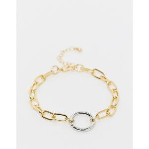 デザインBロンドン DesignB London メンズ ブレスレット チャーム DesignB Exclusive bracelet in gold with oval links and silver hoop charm ゴールド|fermart