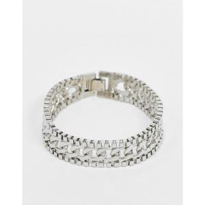 デザインBロンドン DesignB London メンズ ブレスレット ジュエリー・アクセサリー DesignB bracelet in silver with mixed chain detail シルバー|fermart