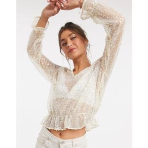 ピンキー Pimkie レディース ブラウス・シャツ トップス sequin detail blouse in gold アイボリー|fermart