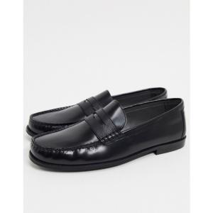トップマン Topman メンズ ローファー シューズ・靴 leather loafers in black ブラック fermart