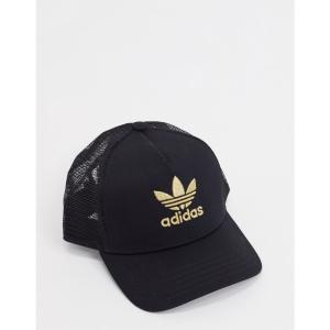 アディダス adidas Originals メンズ キャップ 帽子 Trucker Cap With Gold Trefoil ブラック fermart