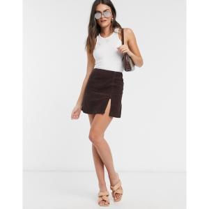 エイソス ASOS DESIGN レディース スカート cord split hem skirt in chocolate チョコレート|fermart