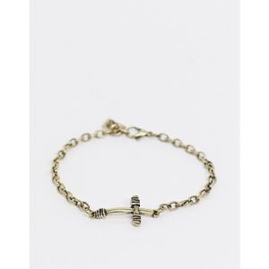 アイコン Icon Brand メンズ ブレスレット チャーム ジュエリー・アクセサリー bracelet in gold with wrapped cross charm ゴールド|fermart