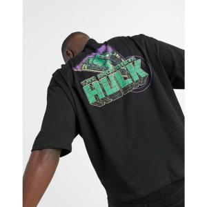 エイソス ASOS DESIGN メンズ Tシャツ トップス Incredible Hulk oversized t-shirt with back & chest print in black ブラック|fermart