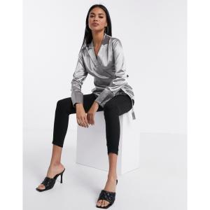 ミスガイデッド Missguided レディース ブラウス・シャツ トップス satin wrap blouse in silver シルバー|fermart